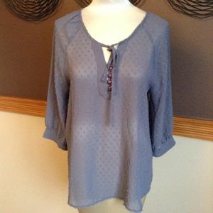 slate blue MATILDA JANE swiss dot float blouse M